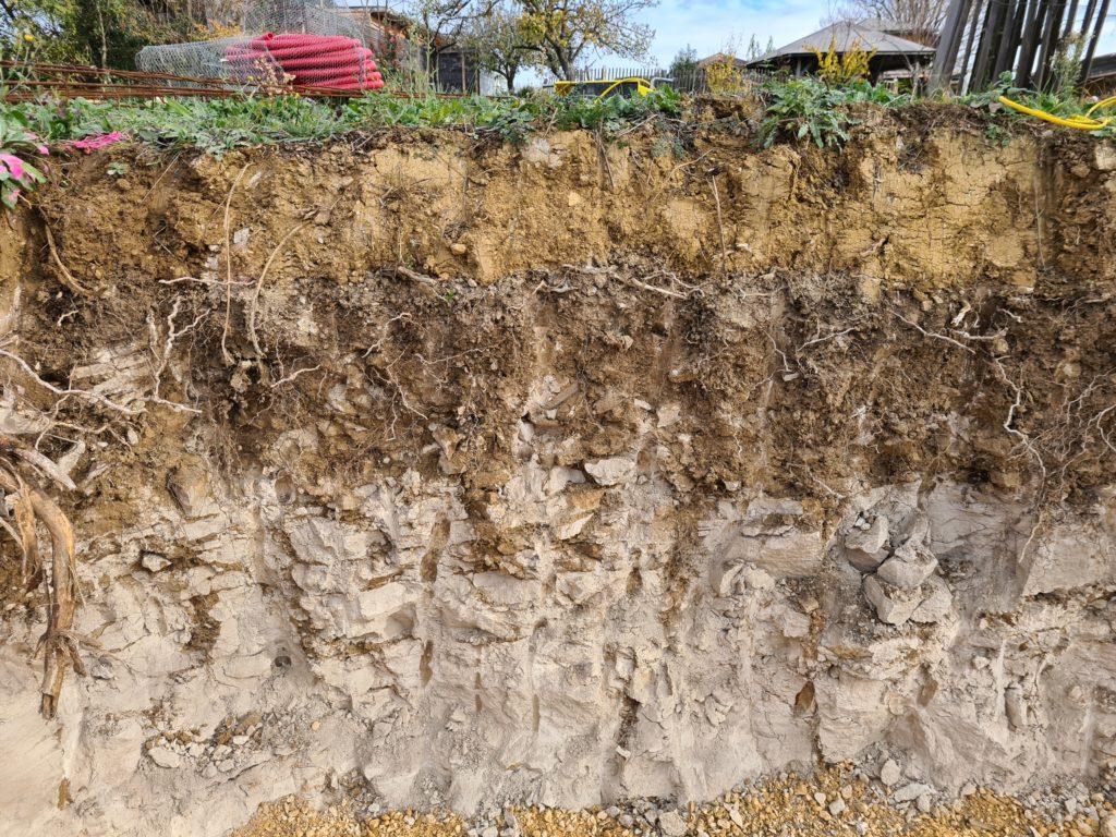 Plan de coupe des différentes strates d'un terrain